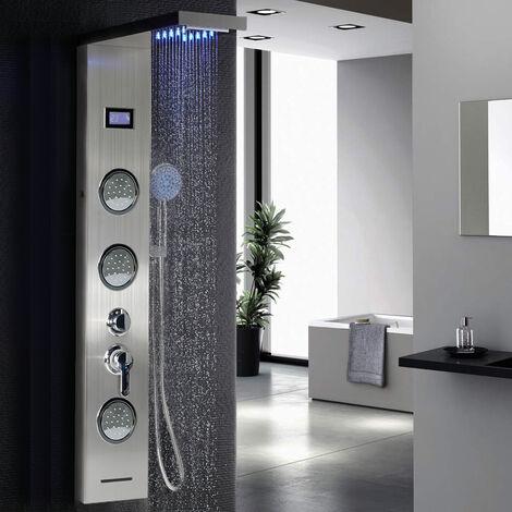 Panel de columna de ducha LED multifuncional en acero inoxidable Sistema de ducha de mano de una manija Juego de baño