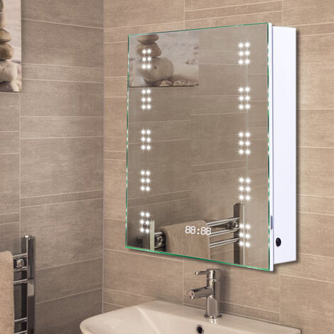 LED Illuminated Bathroom Sensor Mirror Cabinet Demist Shaver Socket 500x700mm