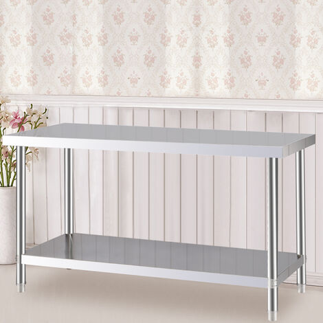 Kitchen Work Table 120x60x80cm Stainless Steel