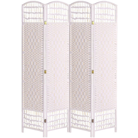 Adjustable 4 Panel White Wicker Wood Room Divider Partition Privacy Screen Separator