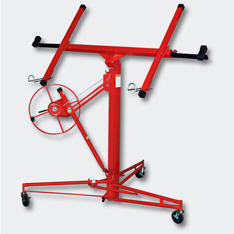 "11FT Drywall Lift Lifter Plaster Board Panel Hoist Jack Tool 70kg Lifting Capacity With 4"" Caster Wheels Rolling"