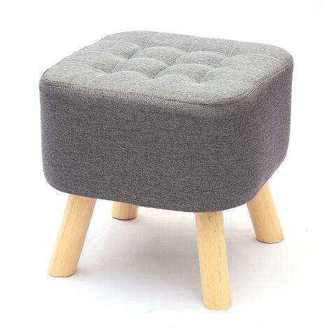 Grey Fabric Rest Stool Footstool Chair Ottoman Rest Padded Wooden Leg Stool