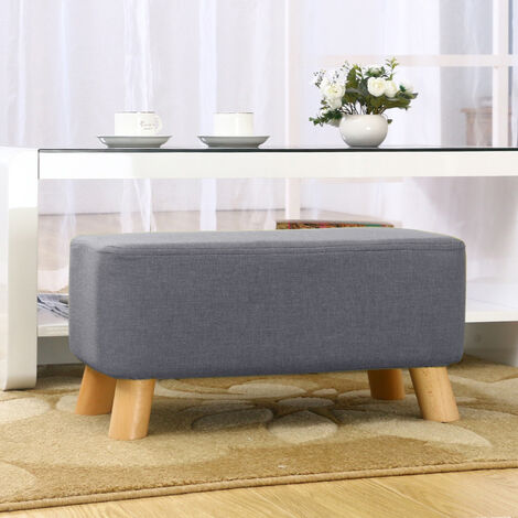 Grey Fabric Ottoman Footstool Seat Pouffe Bench Footrest Chair Stool