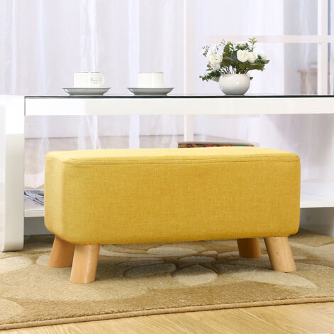 Fabric Wooden Footstool Ottoman Pouffe Padded Seat Stool Foot Rest Yellow