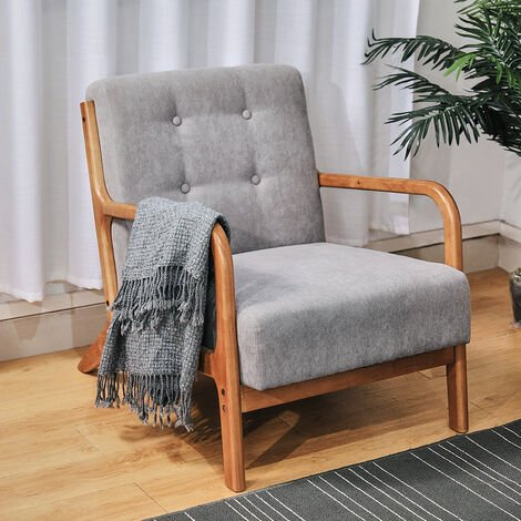 Retro Solid Wooden Frame Upholstered Tufted Armchair Button Accent Chair Sofa