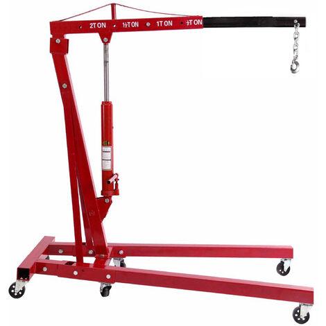 2000 kg Hydraulic Folding Workshop Engine Crane Hoist Lift Stand Wheels