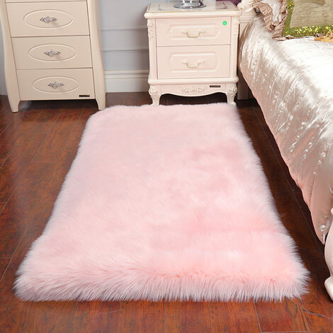 Rectangle Pink Faux Fur Sheepskin Non Slip Fluffy Floor Rugs