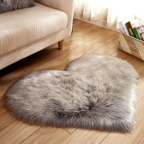 70x90CM Heart Fluffy Fur Rug Faux Washable Sheepskin Mats Rugs
