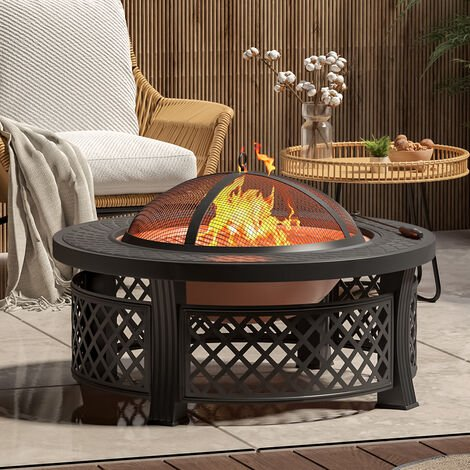 81CM Garden Fire Pit Brazier Heater BBQ Firepit Table with BBQ Grill