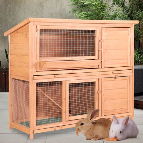 2 Tier Fir Wood Rabbit/Guinea Pig Hutch Run Cage with Sliding Tray