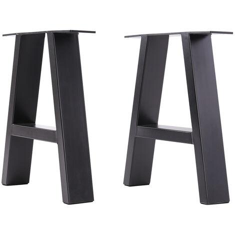 Set of 2 Metal Table Bench Legs Frames A-Frame Steel Base Stands