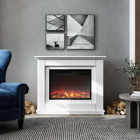 Electric Inset Fireplace Heater Fire Place White Wooden Mantel, 30inch