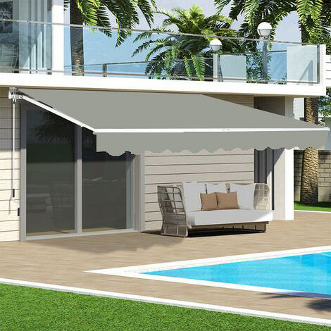 Grey Retractable DIY Manual Patio Awning Canopy Garden Shade Shelter
