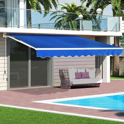 Blue Retractable DIY Manual Patio Awning Canopy Garden Shade Shelter