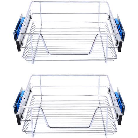 Set of 2 Pull Out Wire Basket Kitchen Cabinet Larder Organizer Cupboard Drawer, 60CM