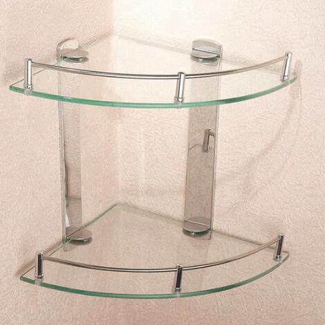 2 Tier Glass Corner Floating Storage Shelves Tidy Bathroom Shower Organizer Rack