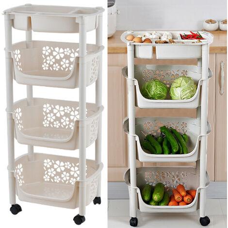4 Tier Vegetable Fruit Storage Basket Rack Kitchen Utility Mobile Trolley Stack