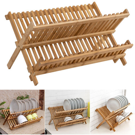 Bamboo Draining Rack Drying Rack Folding Dish Drainer