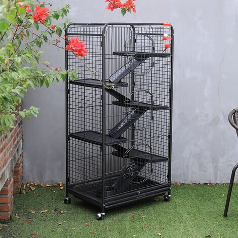 Large Ferret Rabbit Cage 5 Tiers Level Hutch Cage Stable Frame with Wheels Black