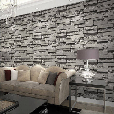 Dark Gray Stacked Brick Wallpaper Realistic 3D Effect Rustic Feature Wall Covers