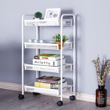 4 Tier Portable Kitchen Salon Spa Trolley Mesh Storage Rack