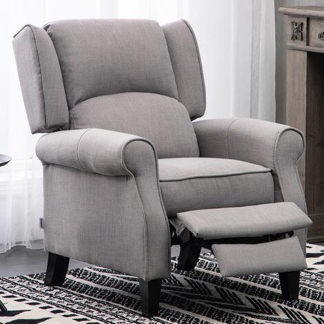 Fabric Wingback Recliner Armchair, Beige Mix