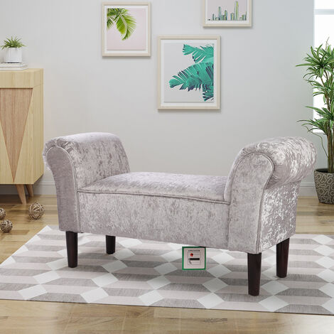 Ice Velvet Footstool Window Seat Upholstered Bench