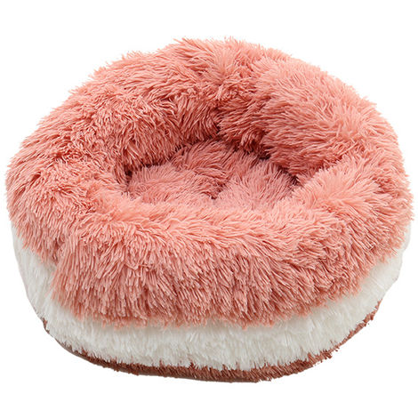 Pet Dog Cat Shag Fluffy Calming Bed Soft Plush Round Nesting Basket Cushion Bed