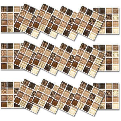 18x Mosaic Tile Bathroom Kitchen Stick on Wall Tiles Stickers Self-Adhesive Decors