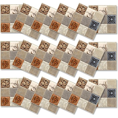 Mosaic Tile Stickers Self-adhesive Kitchen Bathroom Wall Deco 18pcs
