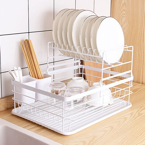 Metal Dish Drying Rack 2 Tier Wire Draining Board with Drip Tray Cutlery Holder