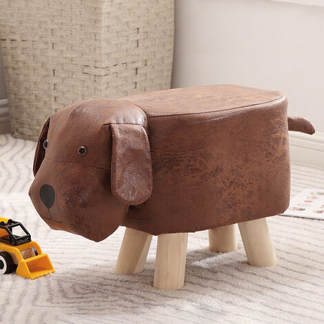 Padded Wooden Footstool Ottoman Pouffe Stool Animals Dog