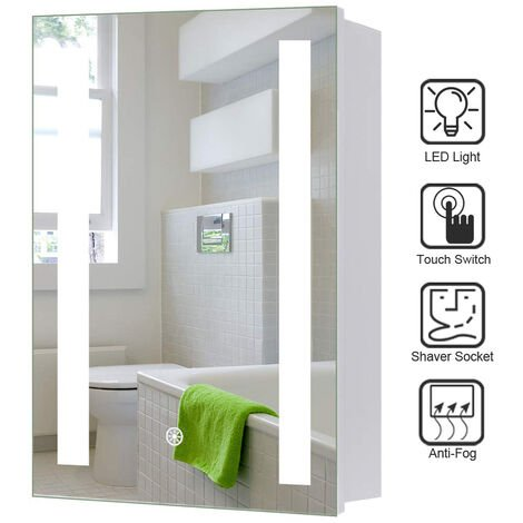 LED Illuminated Bathroom Mirror Cabinet with Lights Touch Switch Demister Pad Shaver Socket