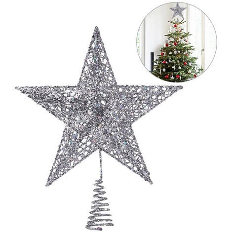 LED Light Up Christmas Tree Topper Star Tree Xmas Ornament Home Party Decoration