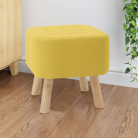 Soft Pouffe Padded Footstool Ottoman Upholstered Foot Stool Square Seat Yellow