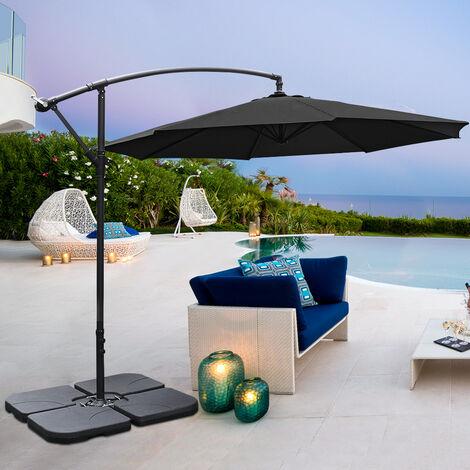 3M Banana Parasol Patio Umbrella Sun Shade Shelter with Petal Base