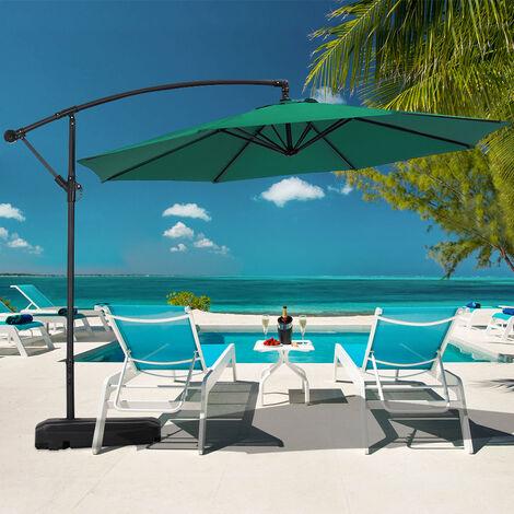3M Banana Parasol Patio Umbrella Sun Shade Shelter with Rectangular Base