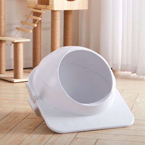 Kitten Cat Litter Tray Toilet Open Hooded Box White 46x52.5x36 cm