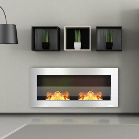 Indoor Wall Mounted Recessed Bio Ethanol Fireplace, 90CM Black