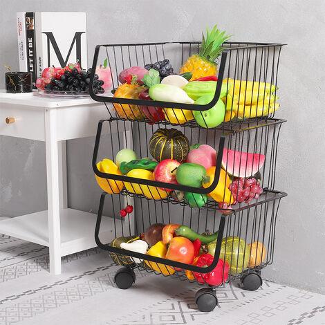 Iron Wire 4 Tier Fruit Vegetable Basket Storage Unit Stackable Trolley Rack