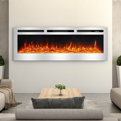 LED Electric Wall Mounted Fireplace Recessed Fire Heater 12 Flames With Remote, Silver 40inch
