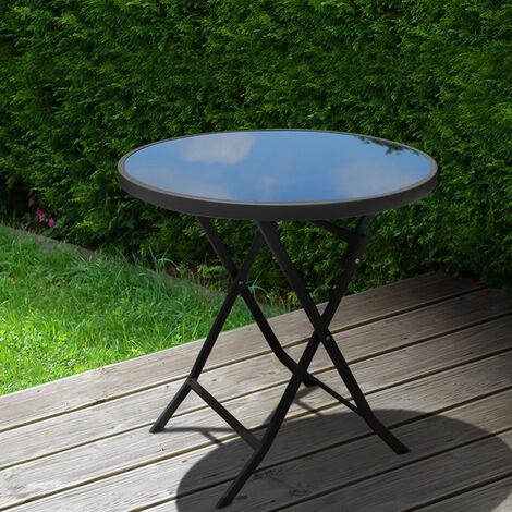 Outdoor Folding Round Garden Coffee Table, 60x60x70CM