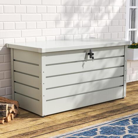 120CM Garden Storage Box Chest Lockable Tool Organizer, White