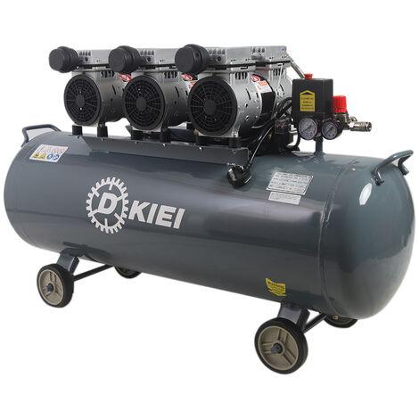 Oil Free Silent Air Compressor 120 Litre Low Noise (<60dB) 4.5HP 115PSI +Wheels