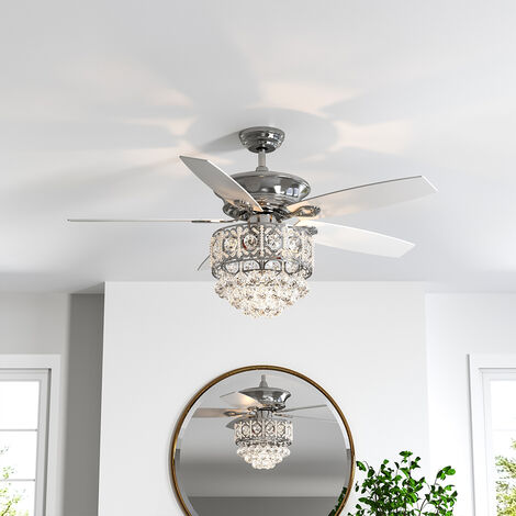 """52"""" Chandelier Ceiling Fan LED Light 5 Blades and Remote Control Chrome"""