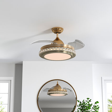 "42"" LED Ceiling Fan Blade Light Chandelier Lamp +Remote Control Golden"