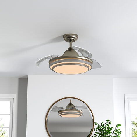 "42"" LED Ceiling Fan Blade Light Chandelier Lamp +Remote Control Sand Nickel"