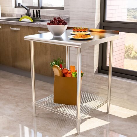 Stainless Steel Commercial Kitchen Food Prep Work Table Bench Top with Backsplash - 180 x 60 x 80 cm