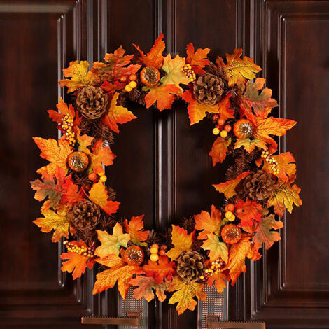 60CM Halloween Fall Pumpkin Wreath Autumn Maple Leaf Garland With LED Light