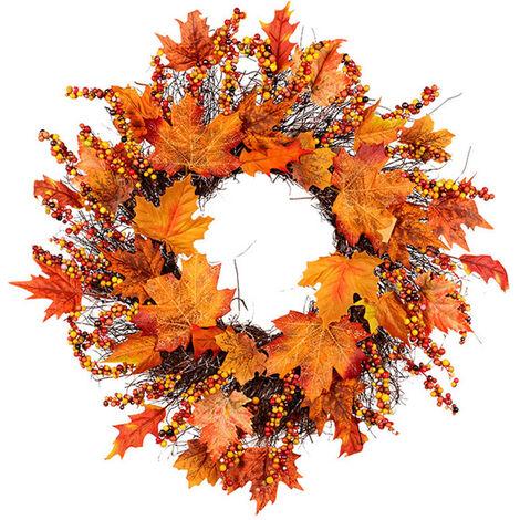 45CM Christmas Halloween Garland Autumn Leaf Artificial Maple Fruit Bunch Wreath with LED Light